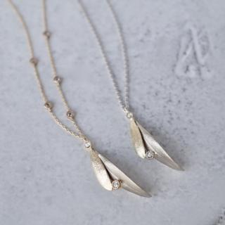 Olive leaf pair necklace