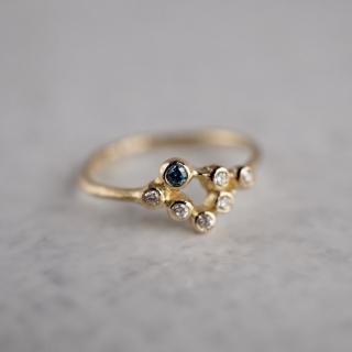 Blue diamond stardust ring