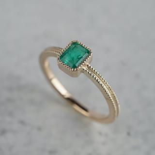 Emerald double milgrain ring